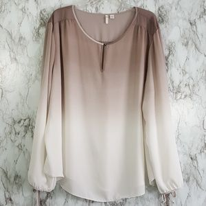 Cato Ombre Gray Cream Open Sleeve Top 26/28W T98
